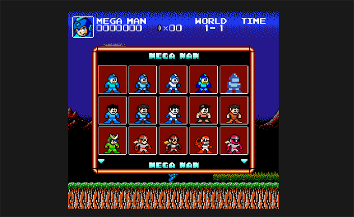 Escolha as skins em Super Mario Crossover (Foto: Reprodução/Murilo Molina)