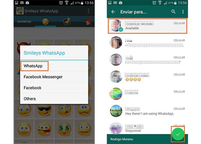 Envie o emoji para o amigo do WhatsApp (Foto: Reprodução/Barbara Mannara)