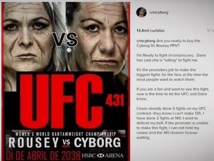 Cris Cyborg cria cartaz de luta contra Ronda Rousey no dia 1º de abril de 2038 (Foto: Reprodução SporTV)