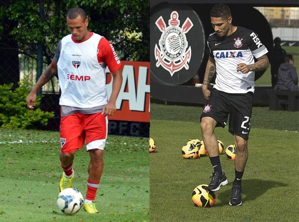 Os atacantes Luis Fabiano e Paolo Guerrero deverão disputar a partida (Foto: Reprodução globoesporte.com)