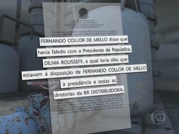 Segundo Cerveró, Collor lhe disse que a presidente Dilma tinha lhe concedido todas as diretorias e a presidência da BR Distribuidora (Foto: Reprodução/TV Globo)