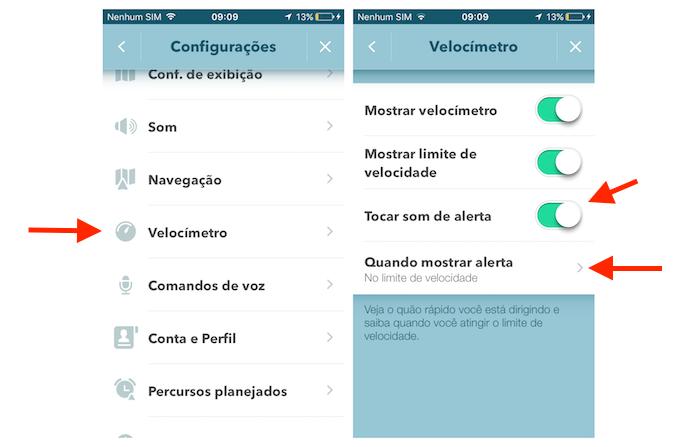 Ativando o alerta sonoro de limite de velocidade do Waze no iPhone (Foto: Reprodução/Marvin Costa)