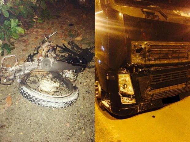 Moto ficou completamente destruída após colidir com carreta (Foto: Whatsapp/Reprodução)