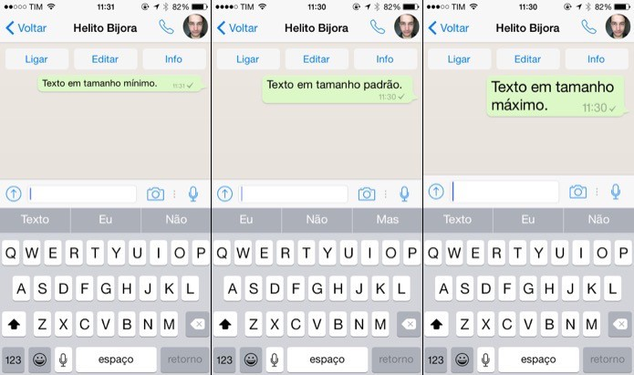 Veja como alterar o tamanho do texto do WhatsApp (Foto: Reprodução/Helito Bijora)