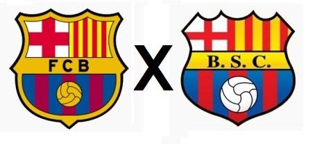 Foto (Foto: Os escudos do Barcelona da Espanha e do Equador: batalha jurídica para registro da marca no país sul-americano - Montagem)