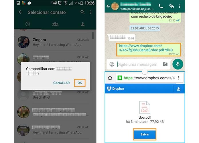 Escolha o contato do WhatsApp e conclua o envio do link para baixar o arquivo (Foto: Reprodução/Barbara Mannara)