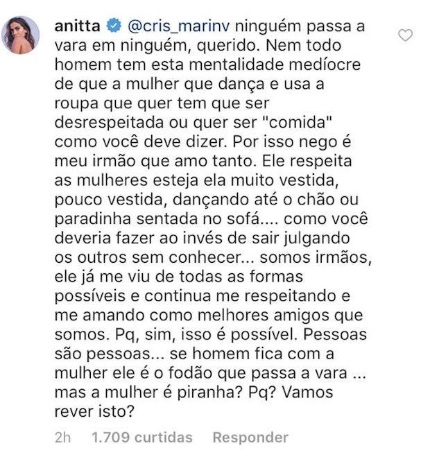 Resposta da Anitta (Foto: Reprodução Instagram)