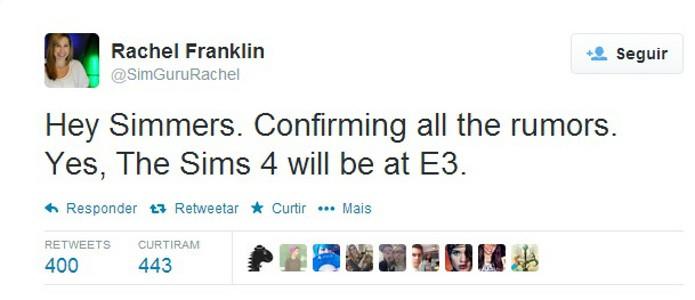 Tweet sobre a confirmação do game na E3 2014 (Foto: Divulgação)