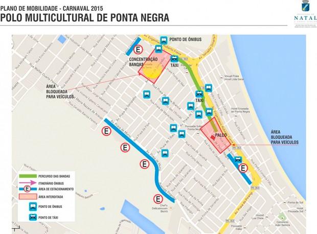 Veja áreas de bloqueio no trânsito de Ponta Negra durante o carnaval (Foto: Divulgação/STTU)