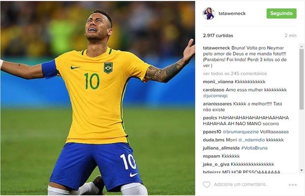 Tatá Werneck pede para Bruna Marquezine voltar a namorar o Neymar em post (Foto: Reprodução/Instagram)
