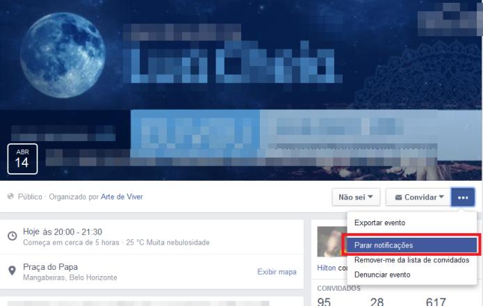 Desativando as notificações de um determinado evento no Facebook (Foto: Reprodução/Lívia Dâmaso)