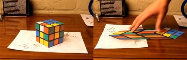Cubo mágico, na verdade, é papel com imagem distorcida (Foto: Reprodução)