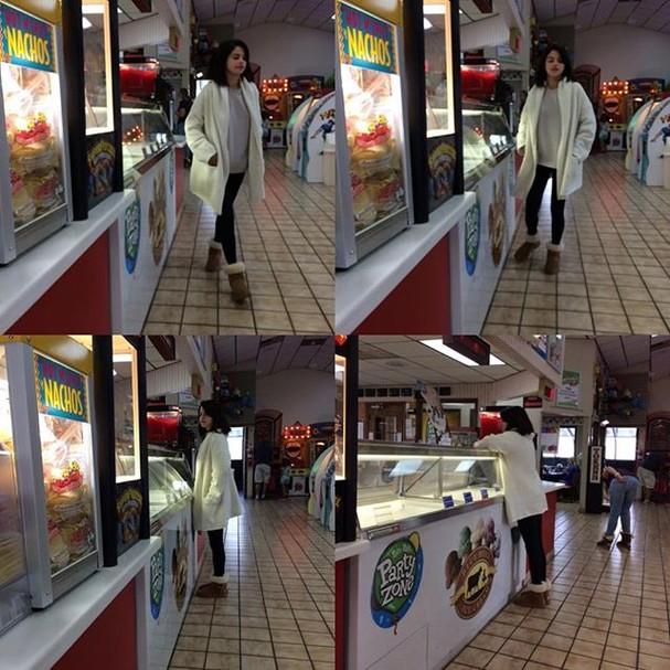 Selena Gomez é flagrada em mercado (Foto: Reprodução/Instagram @gomezupdates)