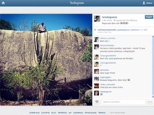 Renato Góes mostra bastidores no Lajedo de Pai Mateus (Foto: Reprodução/Instagram/@renatogoess)