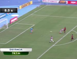 Wellington Silva percorre 74,1m até marcar gol; Fluminense (Foto: Reprodução SporTV)