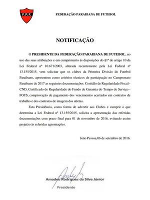Documento da FPF destinado aos clubes do Campeonato Paraibano de 2017 (Foto: Divulgação/FPF)