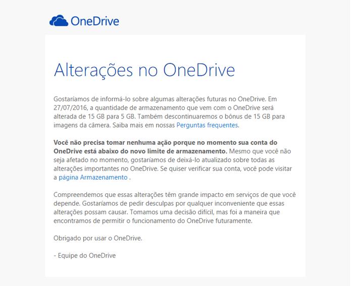 E-mail da Microsoft informa diminuição do espaço disponível na nuvem (Foto: Reprodução/Microsoft)