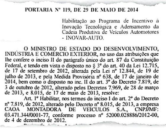 Como propina paga a Grupo Pimentel comprou uma norma legal que favoreceu uma montadora no governo Dilma (Foto: reprodução)