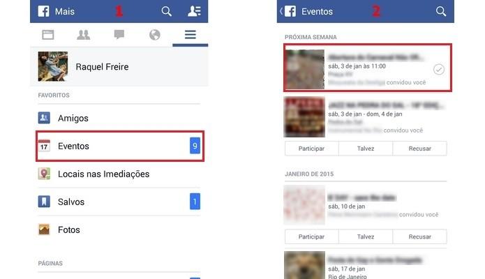 Telas de acesso e visualização dos eventos no Facebook (Foto: Reprodução/Raquel Freire)