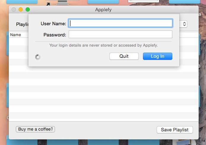 Abra o Applefy e faça seu login do Spotify (Foto: Reprodução/André Sugai)
