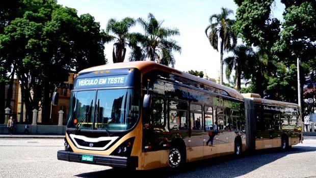 Veículo elétrico da BYD em testes em Curitiba (Foto: Divulgação Prefeitura de Curitiba)