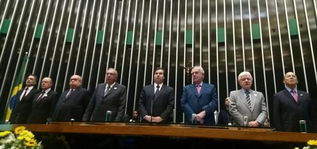 Mesa da Câmara dos Deputados durante homenagem ao 100 anos de Ulysses Guimarães (Foto: Bárbara Nascimento/G1)