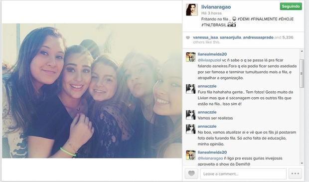 Livian Aragao no show de Demi Lovato no Rio (Foto: Reprodução/Instagram)