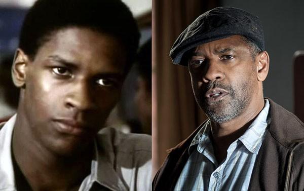 Denzel Washington em 'Wilma' (1977) e 'Um Limite Entre Nós' (2016) (Foto: Divulgação)
