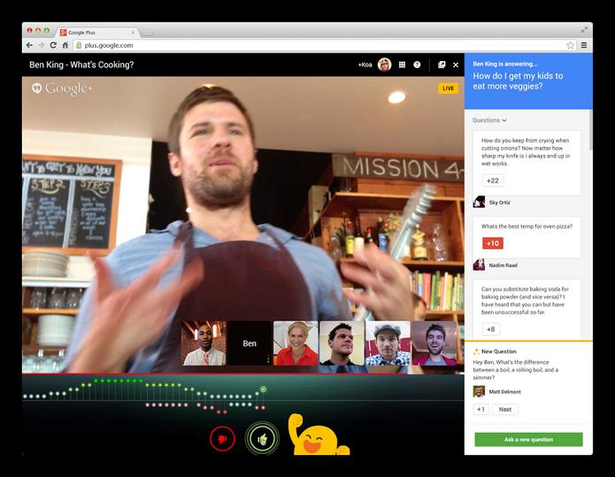 Applause, nova função do Hangouts On Air, permite vaiar ou aplaudir transmissões ao vivo (Foto: Divulgação)