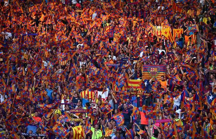 Bandeiras Catalunha final da Liga dos Campeões Barcelona (Foto: Getty Images)