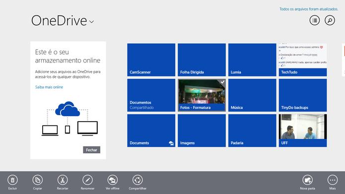 OneDrive para Windows 8 e 8.1 tem interface parecida com a do navegador (Foto: Reprodução/Elson de Souza)