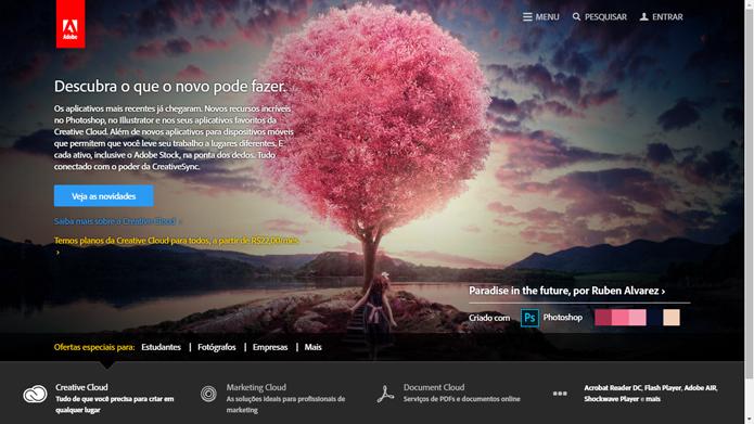 Página da Adobe possui material de ajuda para usuários do Photoshop (Foto: Reprodução/Adobe)