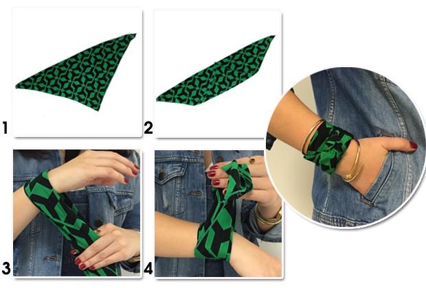 Um lenço pode virar um bracelete superfashion (Foto: Marie Claire)