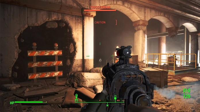 As coisas ficam bem complicadas contra os homens de Magrão Malone na Estação Park Street de Fallout 4 (Foto: Reprodução/YouTube)