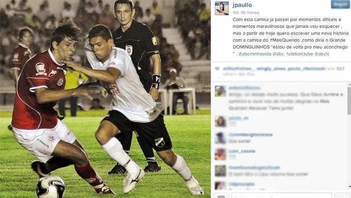 Atacante João Paulo anuncia em uma rede social o retorno ao ABC (Foto: Reprodução/Instagram)