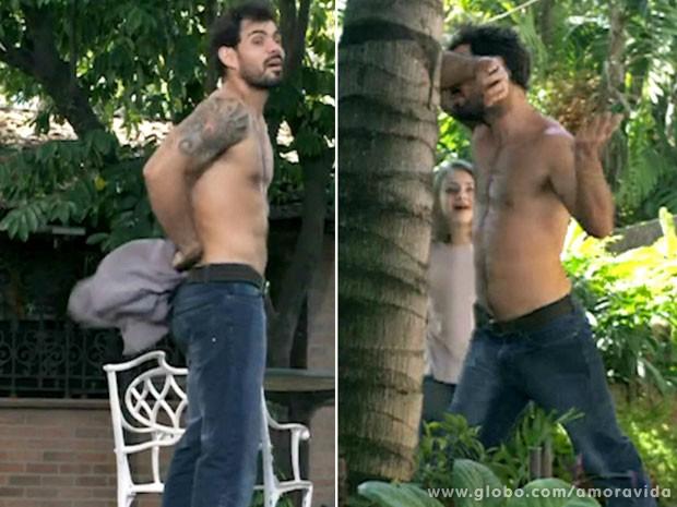 Juliano Cazarré mostra o corpo em forma durante cena de Amor à Vida (Foto: Amor à Vida / TV Globo)