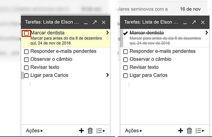 Usuário pode marcar tarefas que já terminou na lista do Gmail (Foto: Reprodução/Elson de Souza)