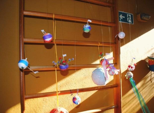 Os planetas já montados na festa' (Foto: Arquivo pessoal/ Daniela Tófoli)