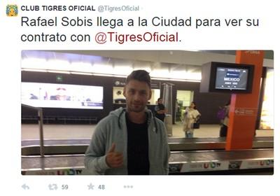 Rafael Sobis acerta com o Tigres do Mexico (Foto: Reprodução/ Twitter)