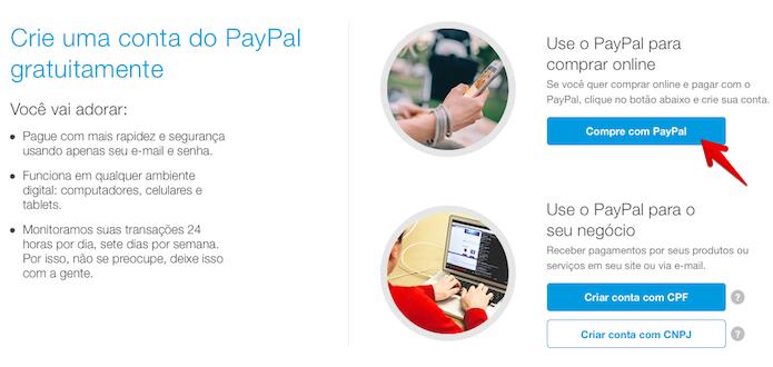 Clique no botão indicado para criar uma conta pessoal (Foto: Reprodução/Helito Bijora)