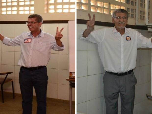 Candidatos votam em segundo turno da eleição em Vitória da Conquista  (Foto: Arte / G1)