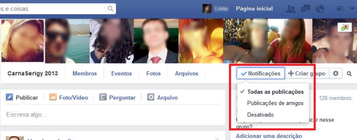 Configurações de notificações de um grupo no Facebook (Foto: Reprodução/Lívia Dâmaso)