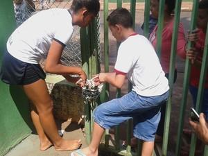 Alunos trancaram a escola com novos cadeados (Foto: Você no G1)