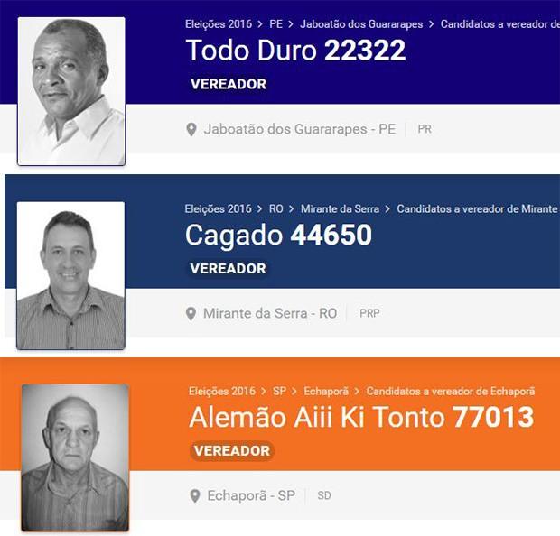 Candidatos com nomes estranhos (Foto: reprodução / eleicoes2016.com.br)