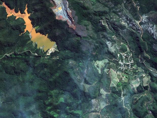 Área de barragens antes do rompimento em Mariana (Foto: DigitalGlobe e Globalgeo Geotecnologias)