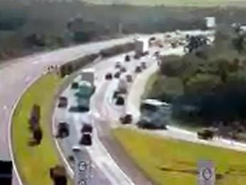 Trânsito flui bem no km 1 da freeway (Foto: Reprodução/Concepa)