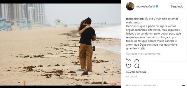 Post da separação (Foto: Reprodução / Instagram)