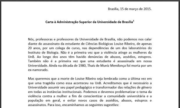 Trecho de carta enviada por professores da UnB após assassinato de aluna em laboratório (Foto: Reprodução)
