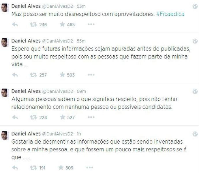 Daniel Alves desmente informações de que estaria envolvido com outras mulheres (Foto: Reprodução/Twitter)