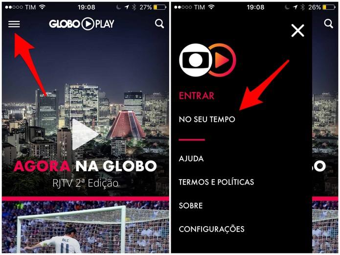 Abra o recurso No seu Tempo no Globo Play (Foto: Reprodução/Lucas Mendes)